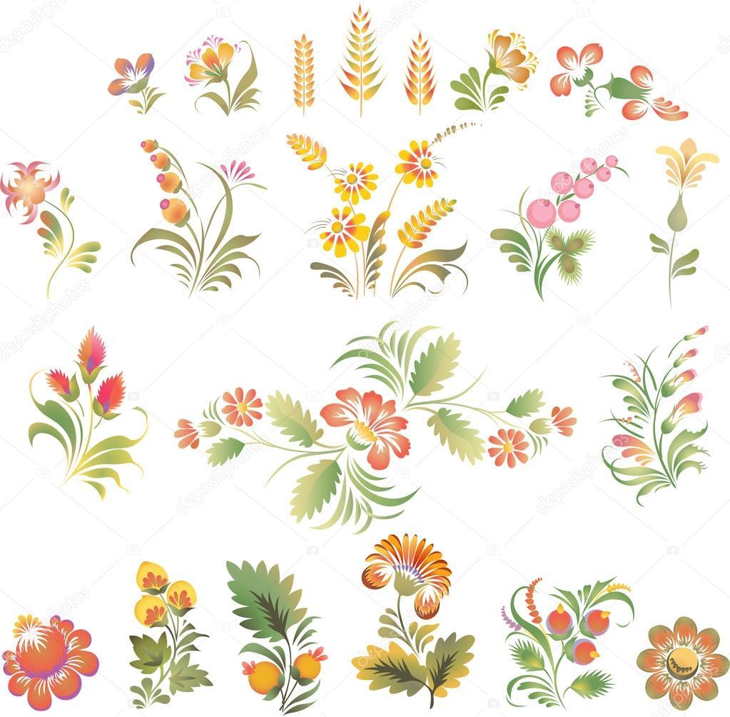 Set of vector flowers in Ukrainian folk style