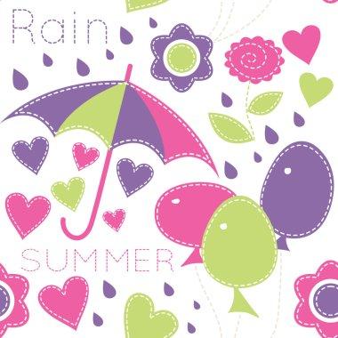 Cute cartoon seamless pattern with  balloons, umbrellas, flowers