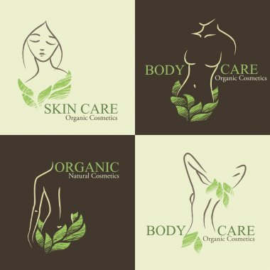 Set of 4 Organic Cosmetics Design elements with contoured women