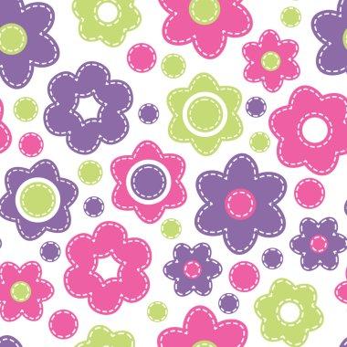 Bright seamless pattern with flowers. Childish style vector illu