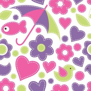 Cute cartoon seamless pattern with fish, umbrellas, birds, flowe