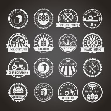 Set of 16 round agricultural and farming badges