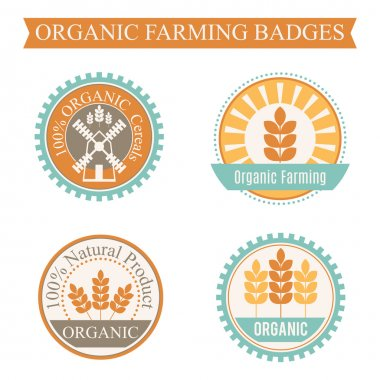 Set of 4 agricultural and farming badges