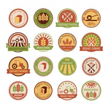 Set of 16 agricultural and farming badges