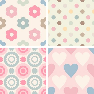 Set of simple romantic patterns
