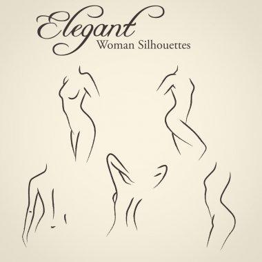 Elegant woman silhouettes