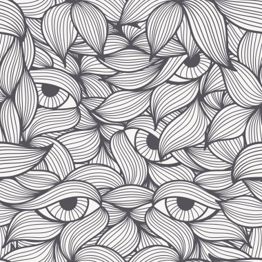 Abstract seamless patterns with spirals, leaves and eyes