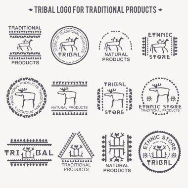 Set of 12 tribal badges