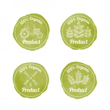 Set of 4 green AGRICULTURAL Badges for organic products