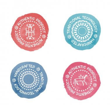Set of 4 Badges for traditional, authenti or handcrafted products.