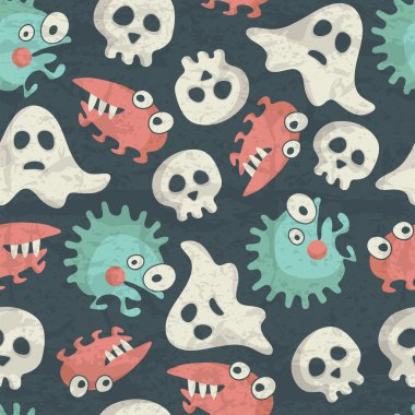 Halloween seamless pattern with spooky monsters, ghosts and skulls