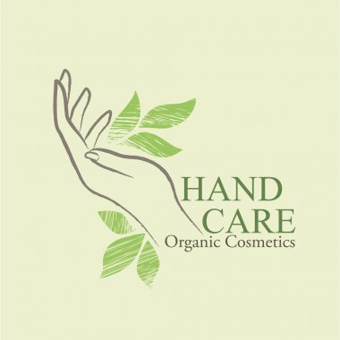 Organic Cosmetics Design elements with contoured woman's hand