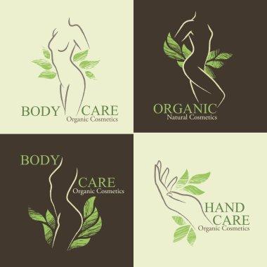 Set of 4 Organic Cosmetics Design elements with contoured women