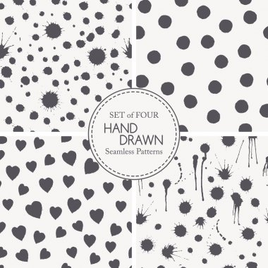 Set of hand drawn seamless patterns with ink splashes