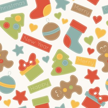 Childish Christmas seamless pattern with xmas trees, stockings, gifts, Christmas baubles, and gingerbread men decorated by stars, hearts and inscriptions. Hand-sewn style elements with white seams. stock vector