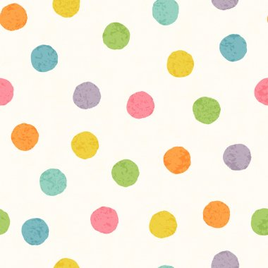 Abstract seamless pattern with bright colorful hand drawn dots on a white background. Lovely childish backdrop for wrapping, packaging, textile and interior decoration clip art vector