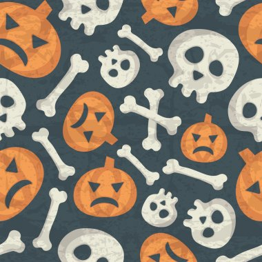 Halloween seamless pattern with spooky pumpkins, bones and skulls