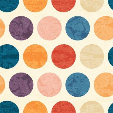 Abstract seamless pattern with grunged colorful polka dots