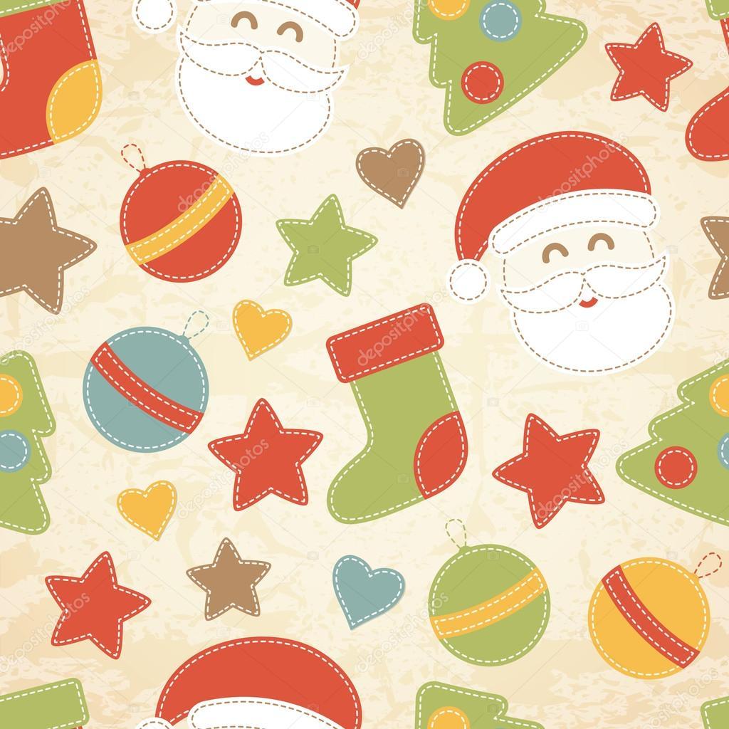 Kindliche Weihnachten nahtlose Muster mit Santa Claus, Christmas ...