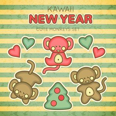 Kawaii New Year Monkey set