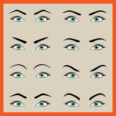 Female eyebrows in different shapes