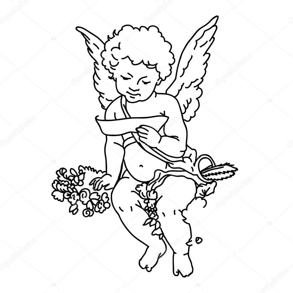 маленькие ангелочки картинки черно белые затем, чтобы