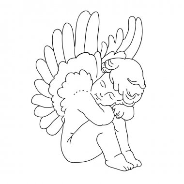 Vector Hand Drawn Cupid Isolated