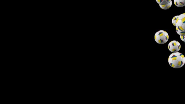 Colombia soccer balls flying on black backgorund