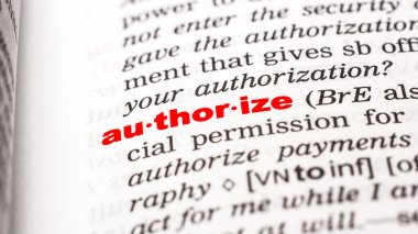 Word authorize in dictionary
