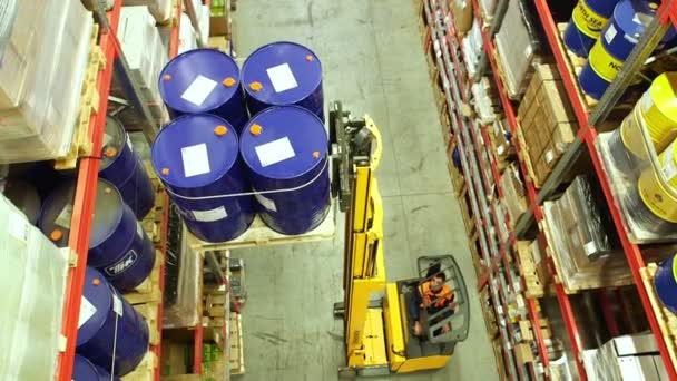 Forklift truck  moves barrels