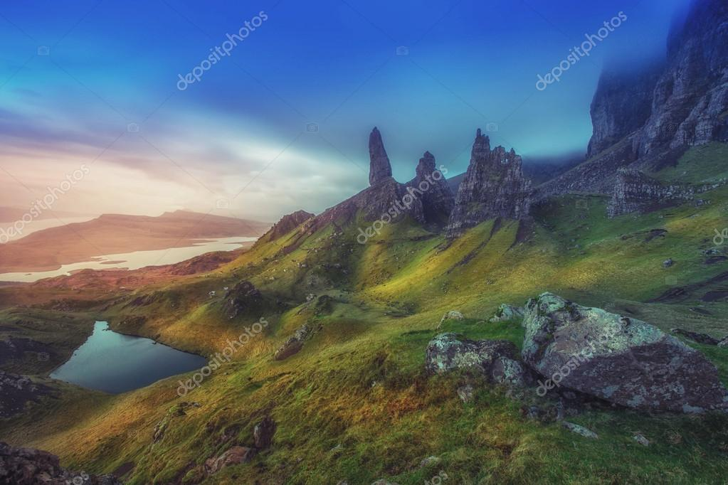 Dramatic Highland pinnacles Old Man of Storr Skye Scotland