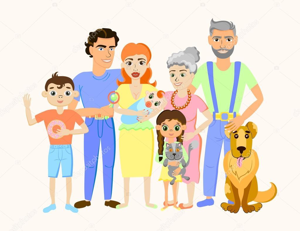 Retrato De Família Feliz Dos Desenhos Animados Com Gato E