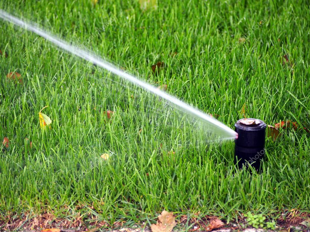 Garden automatic irrigation system, working sprinkler