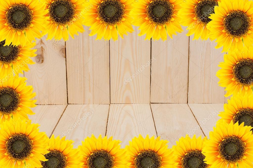 Marco de herramientas de jardín y flores. Girasoles amarillo en ...