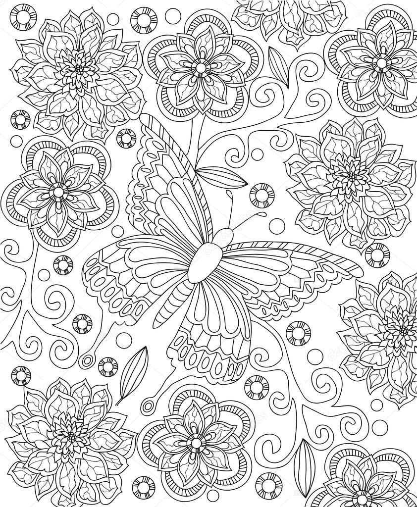 Flower Coloring Page Stock Vector C Imageplus 117767610