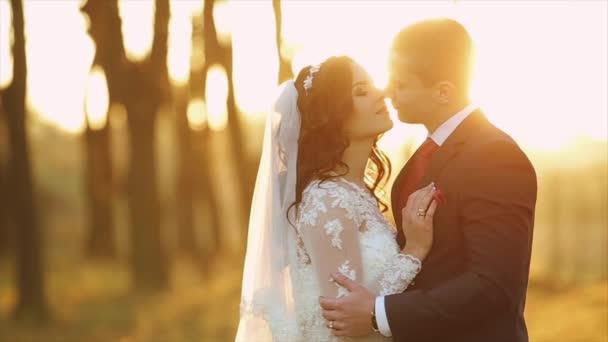 Krásné svatební pár v lese usmívá