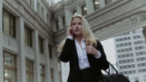 Obchodní Lady s telefonem a kabelku prochází Chicago