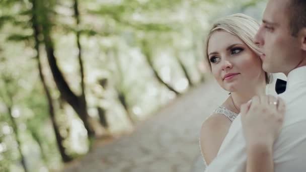 vőlegény és menyasszony is megcsókolta a háttérben sunset, az erdő
