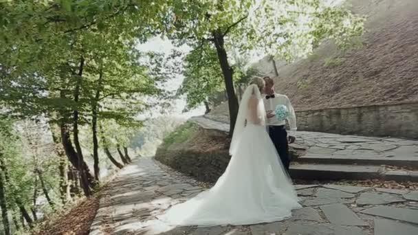 ženich a nevěsta se líbá na pozadí západu slunce v lese