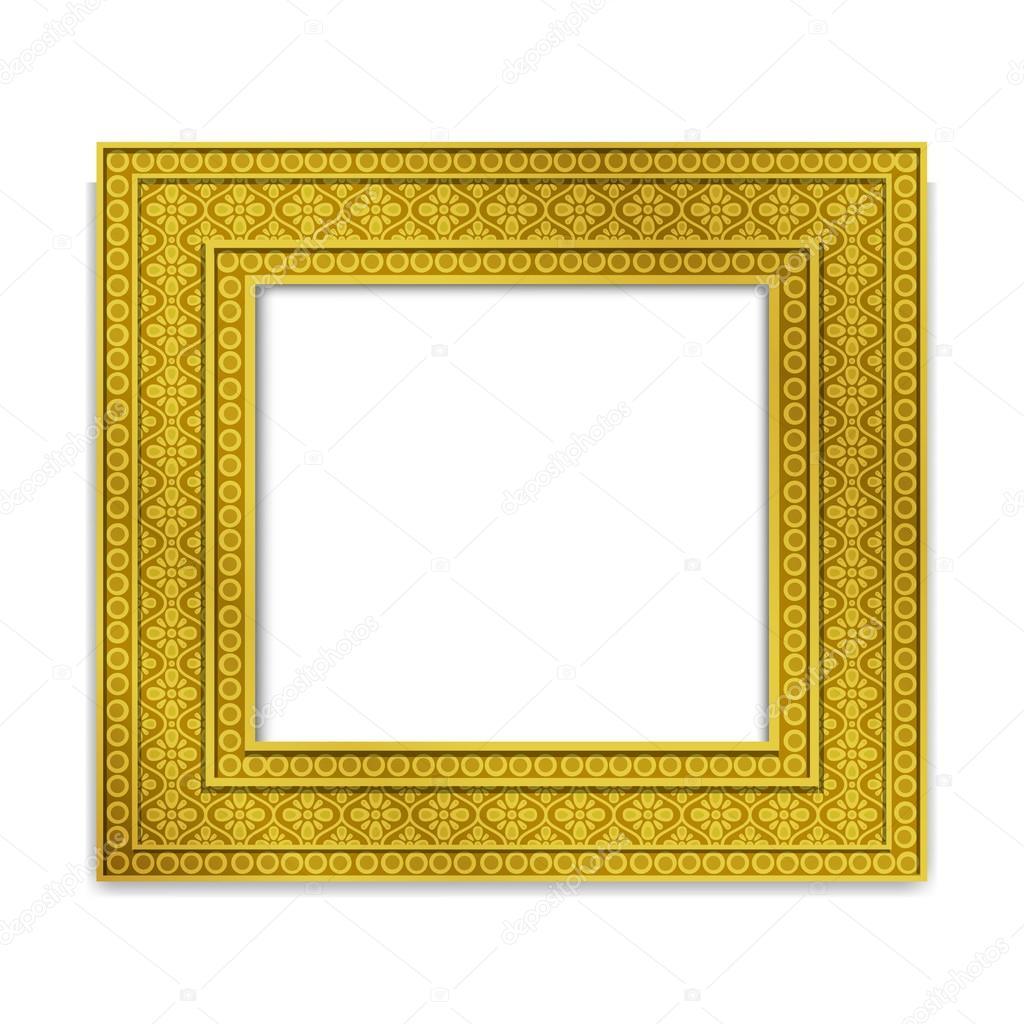 Leuchtend goldene indischen Fotorahmen, Vektor — Stockvektor ...