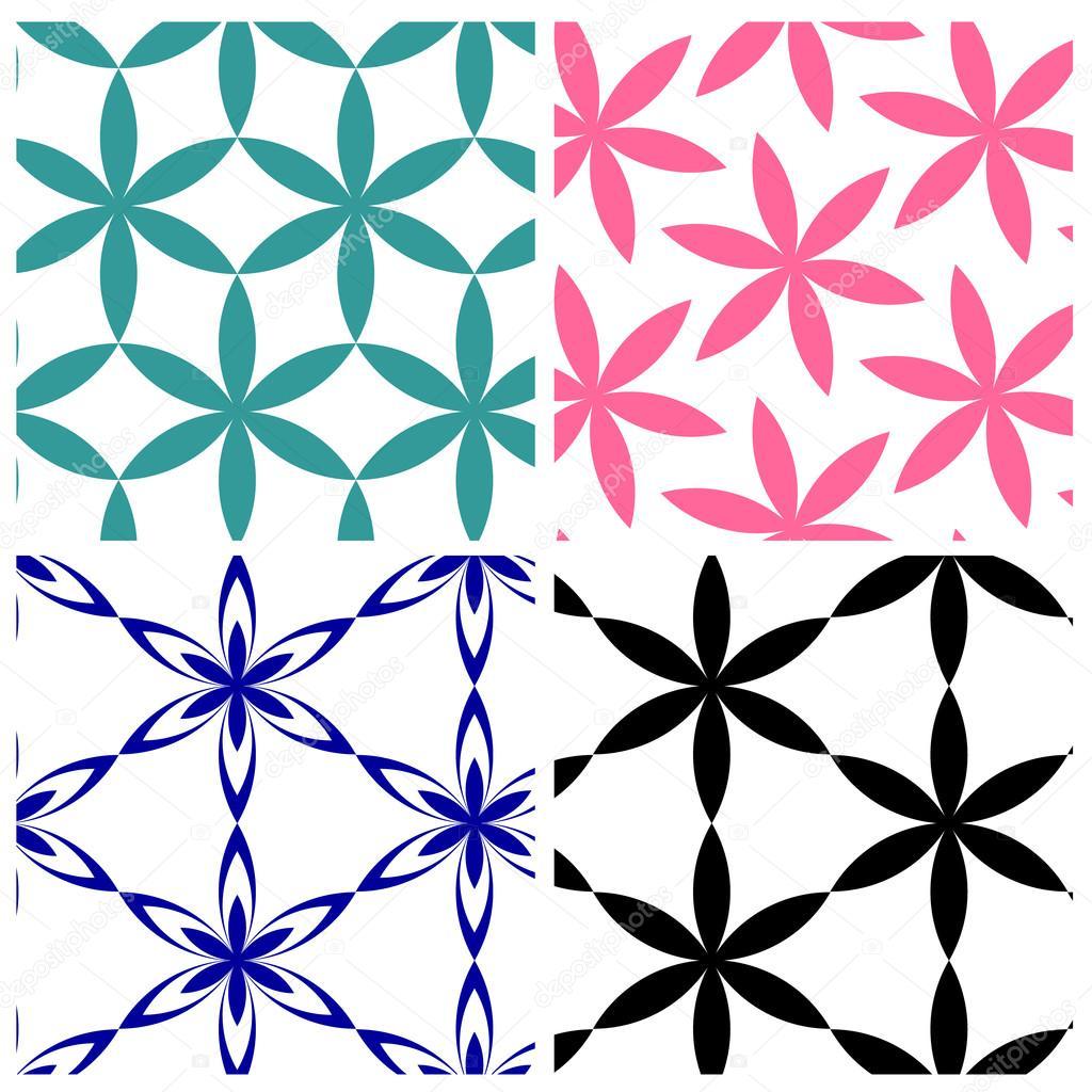 geometric six petals flowers vector pattern stock vector