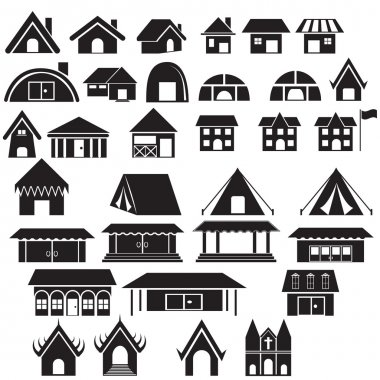 Set of home , camp ,temple and other building icon