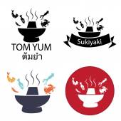 Photo Tom Yum, Sukiyaki ,Spicy Hot pot logo and icon