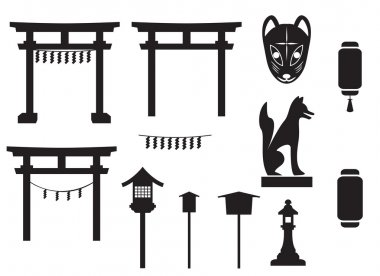 black silhouette traditional object in japan, japan gate and mo