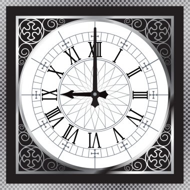 Luxury white gold metal clock with Roman numerals and pattern bo