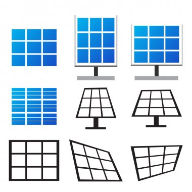 Set of solar panels in many style