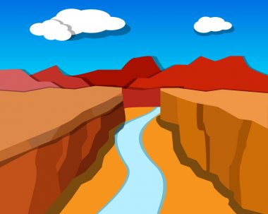 Grand Canyon in origami style, vector