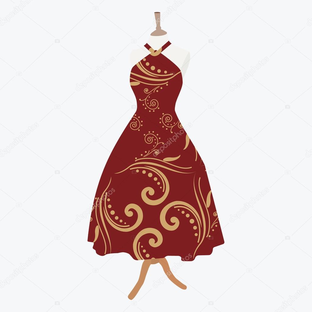 elegante vestido rojo — Vector de stock © viktorijareut #103735536