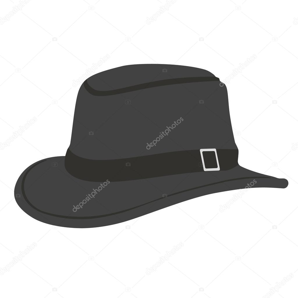 60a5bc90417f7 Black hat raster illustration. Sheriff hat. Hat with buckle — Photo by ...