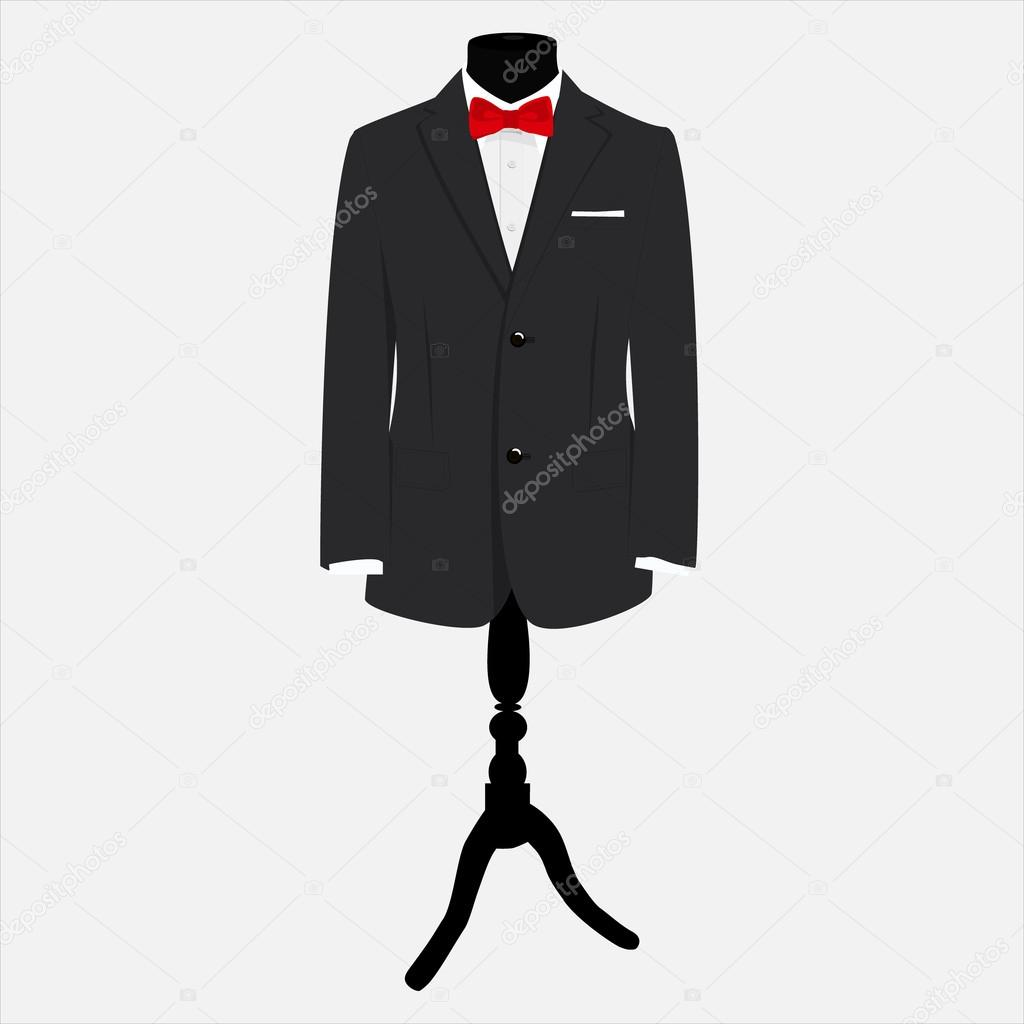 bd599c3db2c3 Vector illustration elegant, modern businessman black suit with red bow tie  and white shirt on mannequin. Suit icon — Vector by viktorijareut